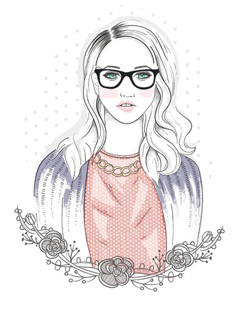 hair style fashion: Young fashion girl illustration. Hipster girl with glasses and flowers.