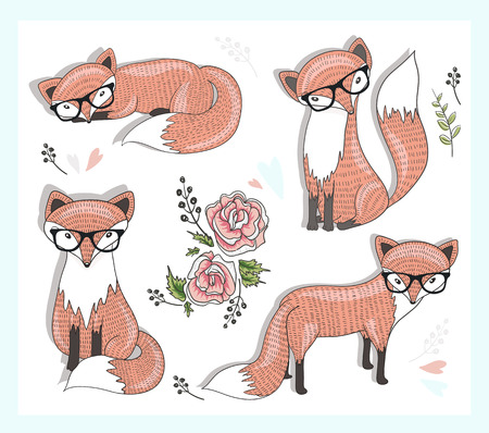 fox animal: Cute little hipster fox set with flowers, leafs and hearts.