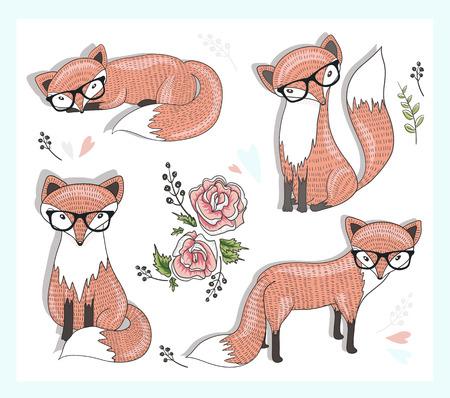 zorro: lindo zorro inconformista establece con flores, hojas y corazones.