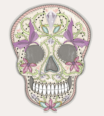 haloween: Cute mexican skull. Colorful skull with flower, gem, hearts and jewel ornamens. Sugar skull.