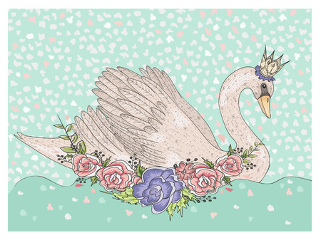 Cute swan with crown and flowers. Fairytale background for kids or children
