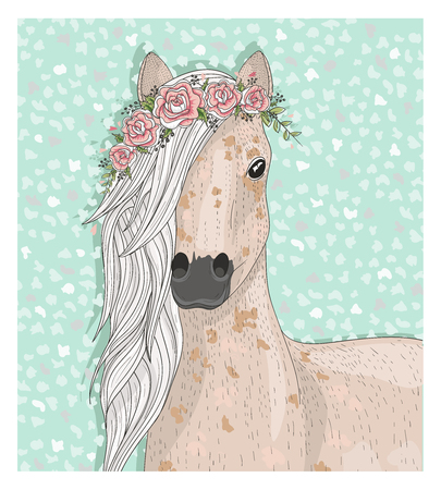 children background: Cute horse with flowers. Fairytale background for kids or children Illustration