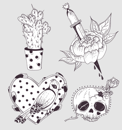 flower sketch: Cute tattoo set. Cactus, flower, skull and bird with heart.