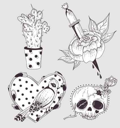 tattoo girl: Cute tattoo set. Cactus, flower, skull and bird with heart.
