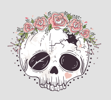 haloween: Cute tattoo style skull. Skull with flower crown. Sugar skull.
