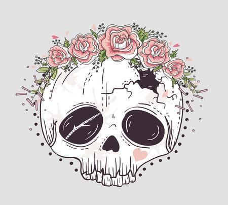 tatouage fleur: Mignon crâne de style de tatouage. Crâne avec la couronne de fleurs. Sucre crâne. Illustration