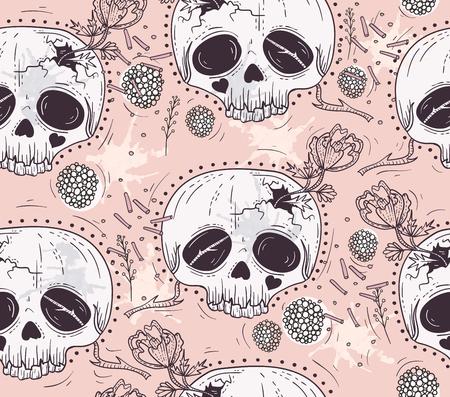 Carino stile tatuaggio teschio senza soluzione di continuità Patten. Cranio con fiori e punti poka. Zucchero cranio sfondo.