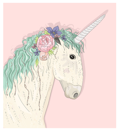 pastel color: Cute unicorn with flowers. Fairytale vector illustration for kids or children.