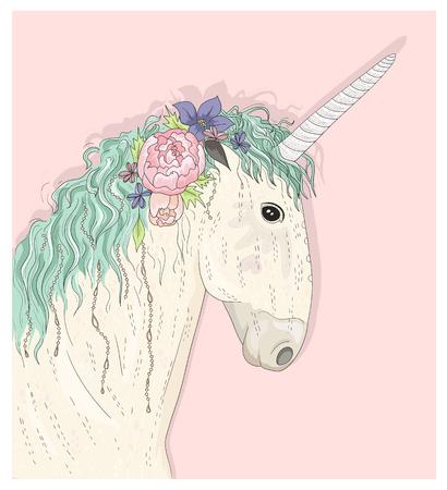 unicorno sveglio con i fiori. illustrazione vettoriale Fairytale per i bambini o bambini. Vettoriali