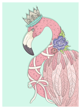 Stock Vector Illustration: Cute flamingo with flower, crown and ribbon. Fairytale vector illustration for kids or children.