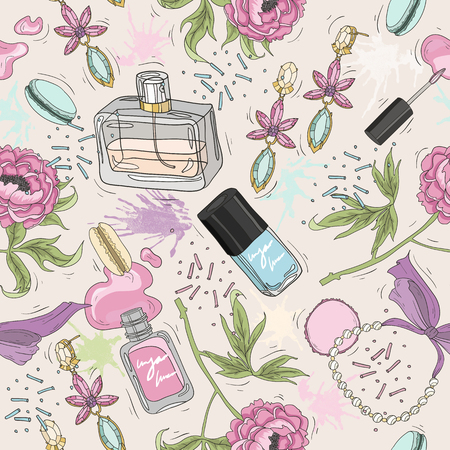 Seamless beauty pattern with make up, perfume, nail polish, flowers, jewelry. Background for girls or women.