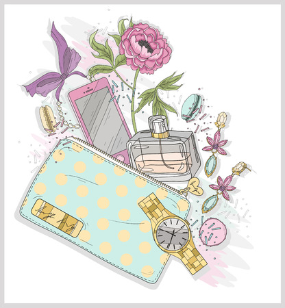 fragrance: Background with purse, mobile phone, perfume,flower, jewelry and macaroons. Cute illustration for girls or women. Illustration