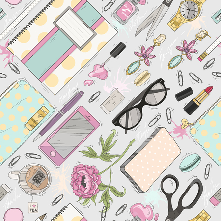 for women: Seamless beauty pattern with make up, nail polish, flowers, jewelry, notebook, pen. Background for girls or women. Cute seamless office pattern.