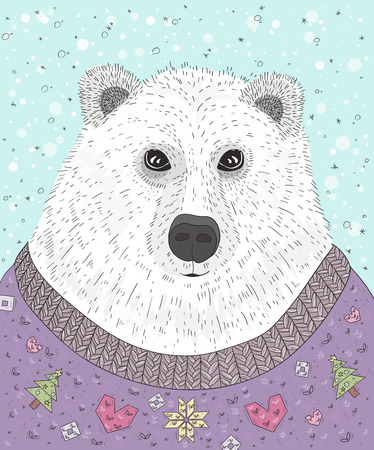 the trendy: Cute hipster polar bear with christmas sweater. Winter illustration.