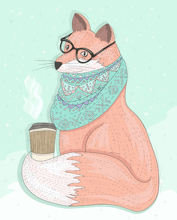 Cute hipster fox with glasses drinking hot coffee. Winter background. Vector illustration for kids or children. Ilustração