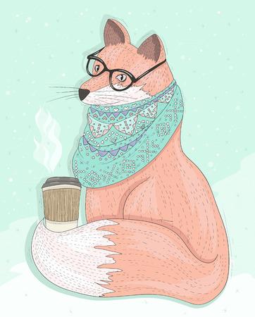 Netter hipster Fuchs mit Gläsern trinken heißen Kaffee. Winter Hintergrund. Vektor-Illustration für Kinder oder Kinder.