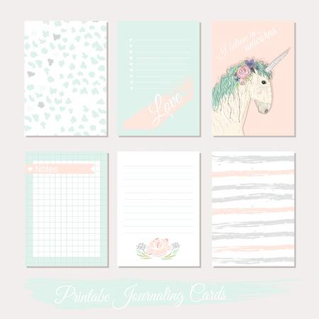 Imprimable ensemble mignon de cartes de remplissage avec des fleurs, licorne, pois, rayures. Vecteurs
