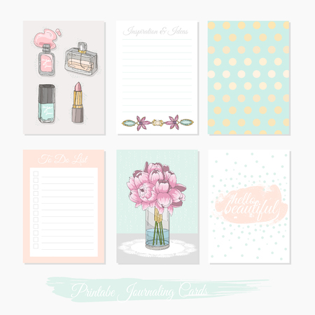 planner: Printable cute set of filler cards with flowers, makeup, jewelry and beauty accessories.