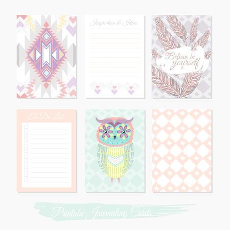 lindo conjunto de impresión de tarjetas de relleno con patrón azteca, búho y plumas. Ilustración de vector