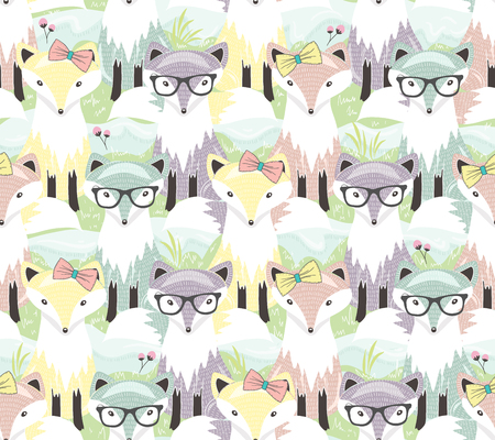 baby animal: Cute little fox seamless pattern. Background with animals for children or kids. Illustration