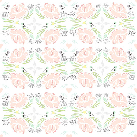 background kaleidoscope: Seamless spring kaleidoscope floral pattern. Background with flowers, leafs and hearts.
