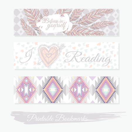 journal: Printable bookmarks with feathers, aztec pattern and heart. templates for posters, banner designs, journal cards, scrapbook, planner, diary journalist.