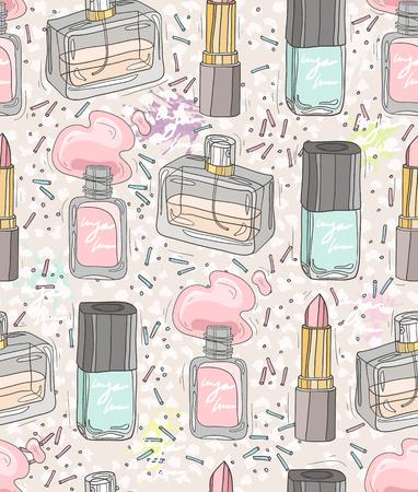 bellezza modello trasparente con make up, profumi, smalti per unghie. Sfondo per le ragazze o le donne. Vettoriali