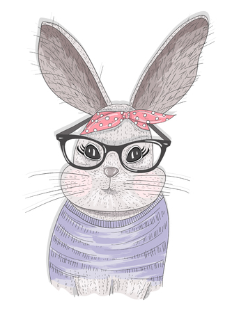 fashion glasses: Cute hipster rabbit with glasses. Fashion bunny illustration