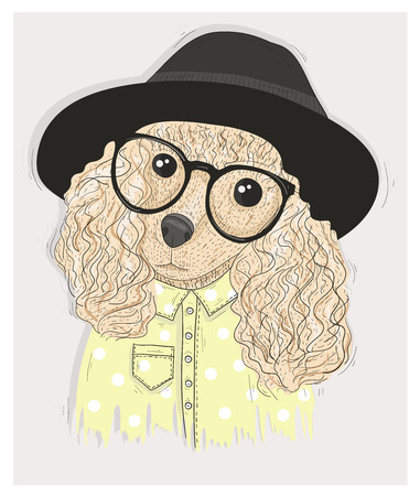 fashion glasses: Cute hipster dog with glasses. Fashion illustration with poodle