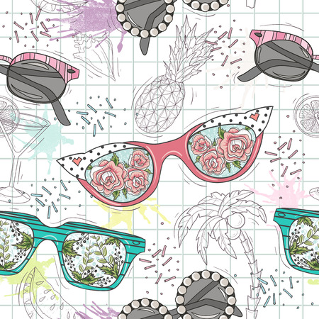 rockabilly: Cute summer abstract pattern. Seamless pattern with sunglasses. Fun pattern for children or teenager girls