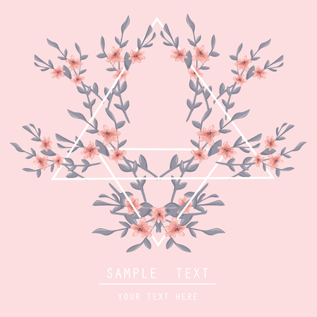 pink floral: Printable spring wall art with floral pattern and typography. Vector template with flowers for invitation, posters, flyers, journal cards, scrapbook.