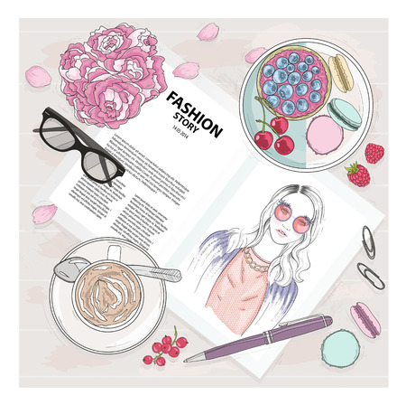 feminine beauty: Breakfast background with magazine, coffee, macaroons, flower, gasses and berries. Cute flat lay fashion illustration for girls or women.