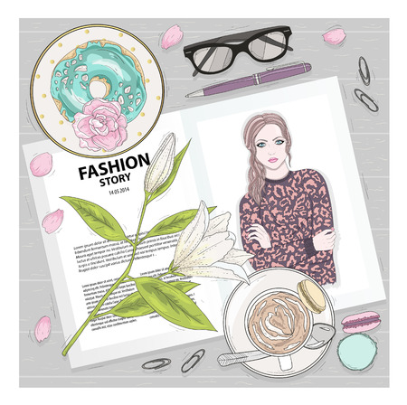 lay: Breakfast background with magazine, coffee, macaroons, flower, gasses and berries. Cute flat lay fashion illustration for girls or women.