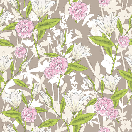 lilly: Seamless floral pattern. Vector background with lilly flowers and roses.