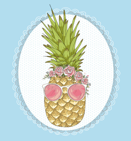 pineapple  glass: Cute hipster pineapple with sunglasses and flower crown.