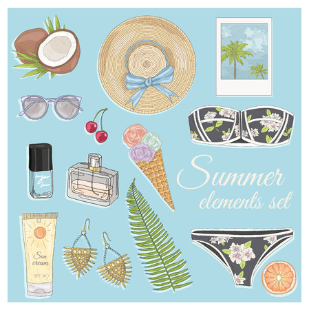 watermelon woman: Summer fashion vector accessories set. Background with sunglasses, jewelery, makeup, swimsuit, cherry, flowers and palm trees