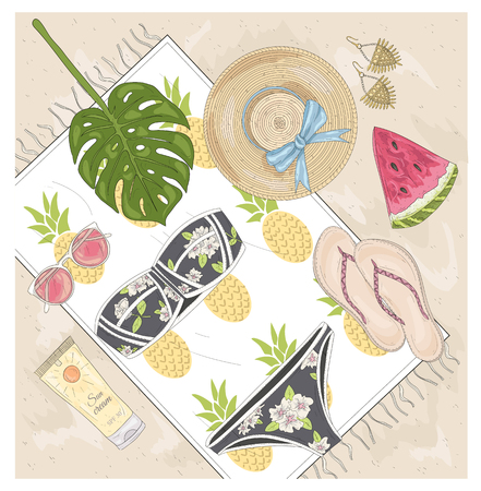 jewelery: Summer fashion vector accessories set. Background with sunglasses, shoes, jewelery, makeup, swimsuit and palm. Beach fashion flat lay