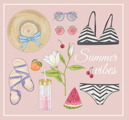 watermelon woman: Summer fashion vector accessories set.