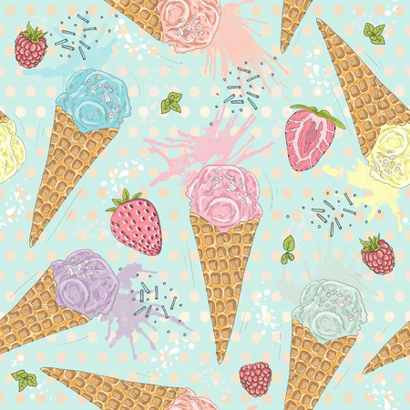 raspberry pink: Cute seamless pattern with ice creams, strawberries and raspberries. Vector background with sweets.