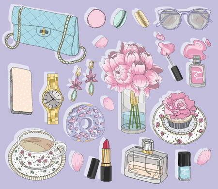accesorios de moda conjunto. Fondo con el bolso, gafas de sol, joyas, maquillaje, té, café y flores. Ejemplo de la moda del vector. Ilustración de vector