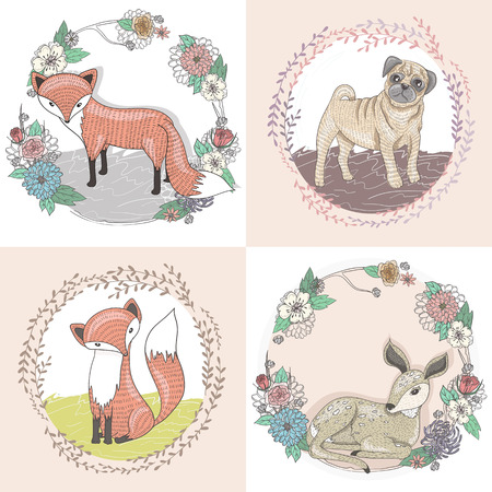 Cute little fox, deer and pug illustration set in floral frames.
