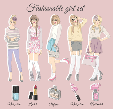 fashion clothes: Young fashion girls illustration. Vector illustration. Background with fashion teen females in fashionable clothes. Fashion illustration.