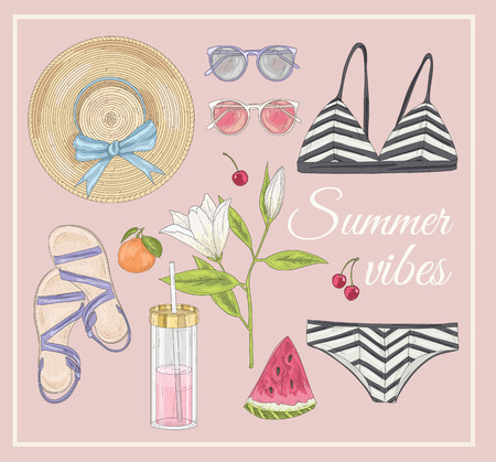 fashion shoes: Summer fashion vector accessories set.