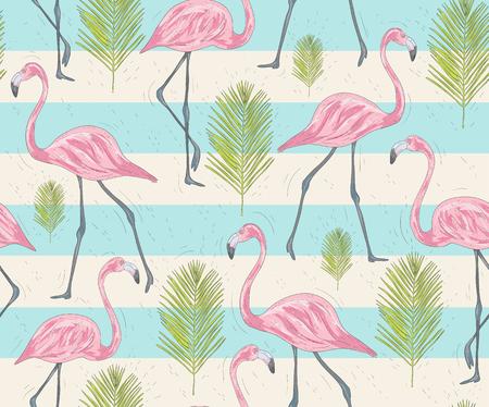플라밍고와 야자수와 귀여운 원활한 패턴입니다. 조류와 벡터 배경입니다. 귀여운 플라밍고.