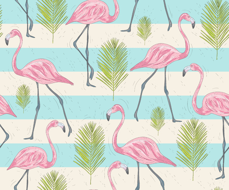 Cute seamless pattern with flamingos and palm. Vector background with birds. cute flamingo.