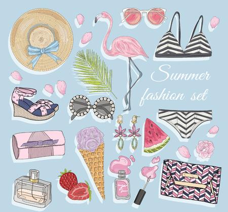 fashion set: Summer fashion vector accessories set.