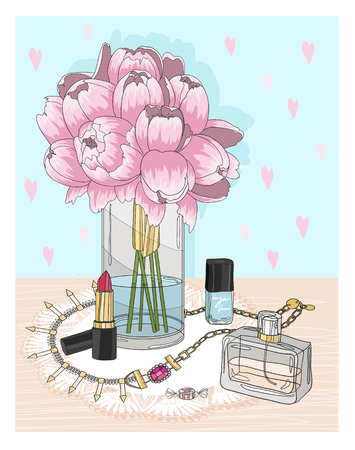 fashion accessories: Fashion essentials. Background with jewellery, perfume, make up and flowers. Fashion accessories. Illustration