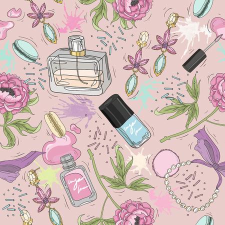 Seamless pattern di bellezza con trucco, profumo, smalto, fiori, gioielli. Vettoriali