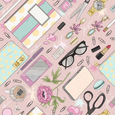 Seamless beauty pattern with make up. Cute seamless office pattern