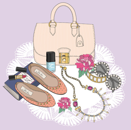 jewelery: Fashion essentials. Background with bag, sunglasses, shoes, jewelery, makeup and flowers.